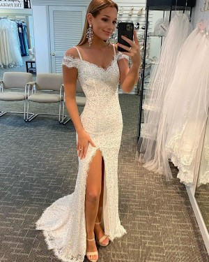 White Beading Lace Cold Shoulder Mermaid Long Formal Dress with Side Slit PD2122