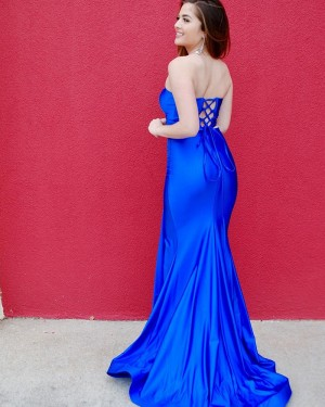 Two Piece Royal Blue Strapless Satin Long Formal Dress with Side Slit PD2125