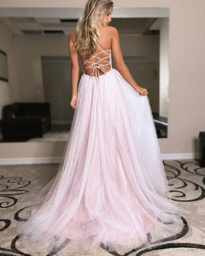 Pearl Pink Spaghetti Straps Tulle Beading Long Formal Dress with Side Slit PD2126