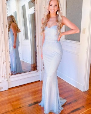 Spaghetti Straps Sky Blue Cross Net Lace Simple Mermaid Long Formal Dress PD2130