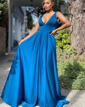 V-neck Blue Satin Simple Long Formal Dress with Pockets PD2133