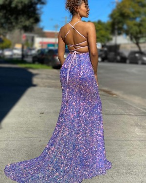 Blue Sequin Mermaid Spaghetti Straps Long Formal Dress with Side Slit PD2135