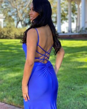 Spaghetti Straps Blue Satin Simple Mermaid Long Formal Dress PD2137