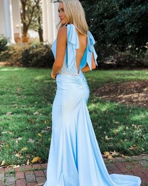 V-neck Light Blue Mermaid Simple Long Formal Dress with Beading Belt PD2138