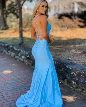 Spaghetti Straps Light Blue Satin Mermaid Simple Long Formal Dress PD2139