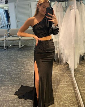 Black Two Piece Long Sleeve Mermaid One Shoulder Long Formal Dress with Side Slit PD2140
