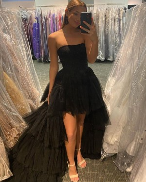 Strapless Black Tulle High Low Long Formal Dress with Layered Skirt PD2142