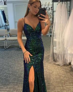 Dark Green Sequin Mermaid Spaghetti Strap Long Formal Dress with Side Slit PD2143