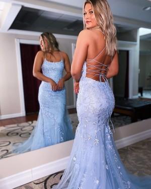 Applique Lavender Spaghetti Straps Mermaid Long Formal Dress PD2146