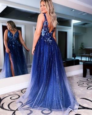 Navy Lace Applique Sequin Tulle V-neck Long Formal Dress with Side Slit PD2147