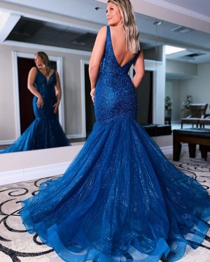 Blue Beading & Sequin Mermaid V-neck Long Formal Dress PD2148
