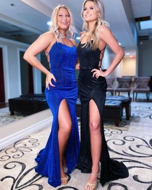 Blue Velvet Mermaid Spaghetti Straps Long Formal Dress with Side Slit PD2150