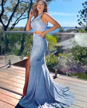 Two Piece Light Blue Sparkle Sequin Mermaid One Shoulder Long Formal Dress with Side Slit PD2152