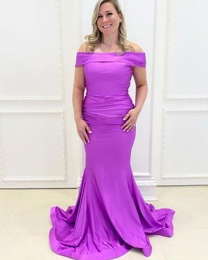 Off the Shoulder Purple Satin Mermaid Simple Long Formal Dress PD2154