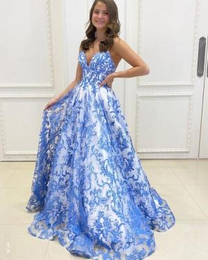 Blue Lace A-line Spaghetti Straps Long Formal Dress PD2156