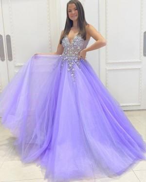 Beading Bodice Lavender Tulle V-neck Long Formal Dress PD2157