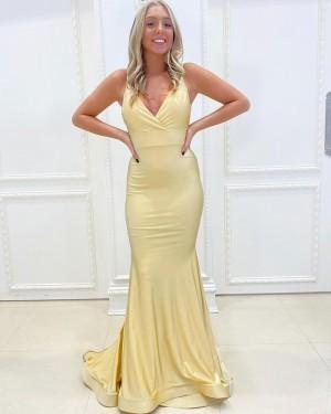 Spaghetti Straps Light Yellow Satin Simple Mermaid Long Formal Dress PD2161
