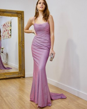 Square Sparkle Lavender Ruched Simple Mermaid Long Formal Dress PD2165