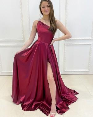One Shoulder Burgundy Satin Simple Long Formal Dress with Side Slit PD2166
