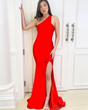 One Shoulder Red Satin Mermaid Simple Long Formal Dress with Side Slit PD2167