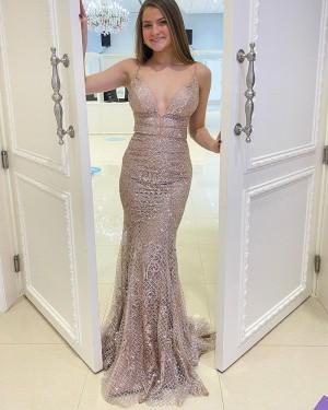 Beading Lace Mermaid Spaghetti Straps Long Formal Dress PD2168