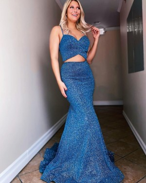 Spaghetti Straps Two Piece Navy Blue Sequin Mermaid Long Formal Dress PD2181