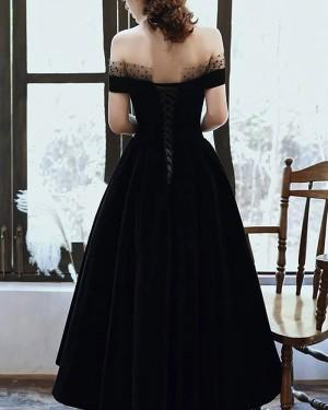 Black Ankle Length Off The Shoulder Satin Long Formal Dress With Pockets PD2186