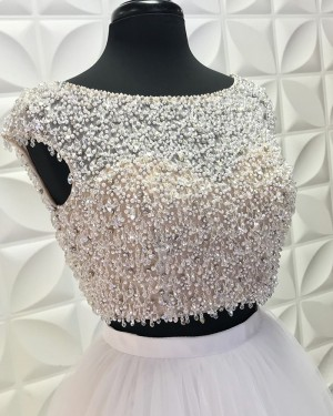 White Jewel Neckline Two Piece Beading Bodice Long Formal Dress With Tulle Skirt PD2192