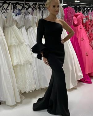 Black Satin One Shoulder Mermaid Long Formal Dress With Long Sleeves PD2202