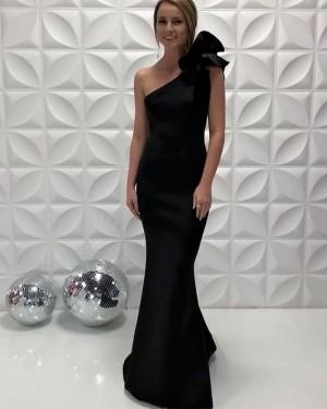 One Shoulder Satin Simple Black Mermaid Long Formal Dress PD2204