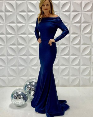 Off The Shoulder Blue Simple Mermaid Long Formal Dress With Long Sleeves PD2207