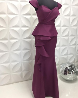 Egg Plant Square Neckline Satin Long Formal Dress With Cap Sleeves PD2211