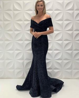 Off The Shoulder Black Simple Mermaid Satin Long Formal Dress PD2213