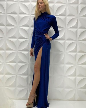 Blue Ruched Satin High Neck Long Sleeves Long Formal Dress With Side Slit PD2215