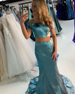 Metallic Green Two Piece Off The Shoulder Long Formal Dress With Short Sleeves PD2219