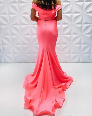 Two Piece Coral Pink Off The Shoulder Satin Simple Mermaid Long Formal Dress PD2223