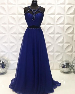 Navy Blue Two Piece Beading Ruched Chiffon Long Formal Dress PD2228
