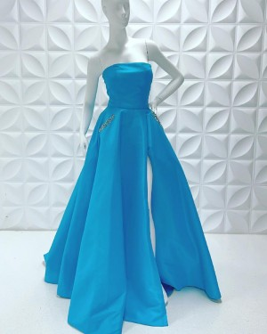 Satin Simple Strapless Side Slit Long Formal Dress With Beading Pockets PD2229