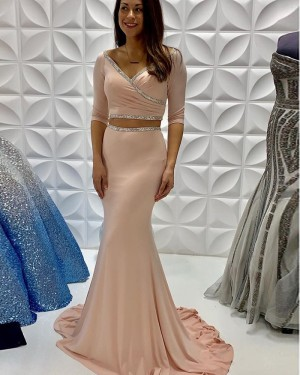 Nude Satin Ruched Two Piece Mermaid Beading Long Formal Dress With Half Length Sleeves PD2239