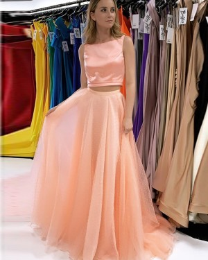 Blush Pink Bateau Neckline Two Piece Long Formal Dress With Beading Skirt PD2240