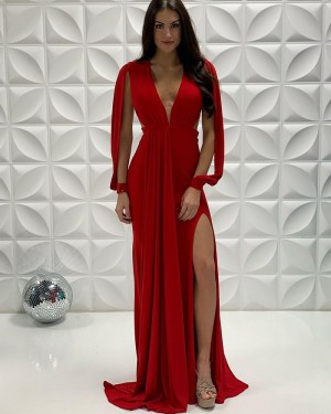 Red Pleated Mermaid Deep V-Neck Side Slit Long Formal Dress With Hanging Sleeves PD2241
