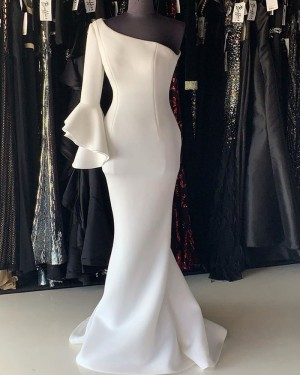 White Satin Mermaid One Shoulder Long Formal Dress With 3/4 Length Sleeves PD2244