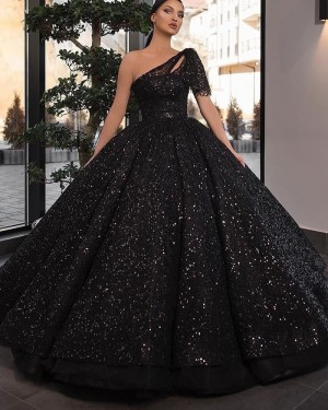 Black Sequin One Shoulder Ball Gown Long Formal Dress With Short Sleeves PD2245