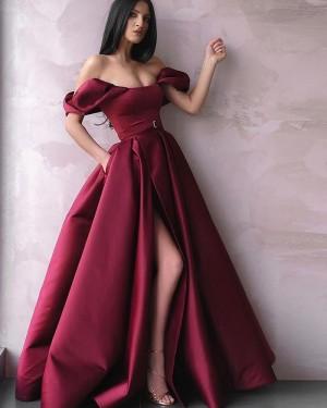 Burgundy Pleated Off The Shoulder Satin Long Formal Dress With Side Slit & Pockets PD2246