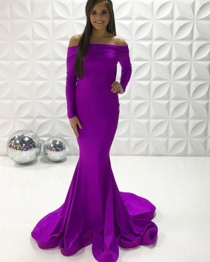 Off The Shoulder Purple Simple Satin Mermaid Long Formal Dress With Long Sleeves PD2253