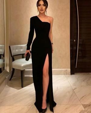 Black Sheath Long Sleeve One Shoulder Long Formal Dress With Side Slit PD2261