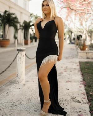 Black Mermaid Spaghetti Straps Long Formal Dress With Tassels Side Slit PD2263