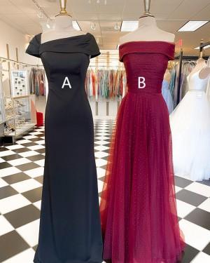 Square Neckline Sheath Black Satin Long Formal Dress With Short Sleeves PD2267