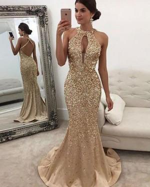 High Neck Beading Cutout Gold Mermaid Evening Dress PM1119