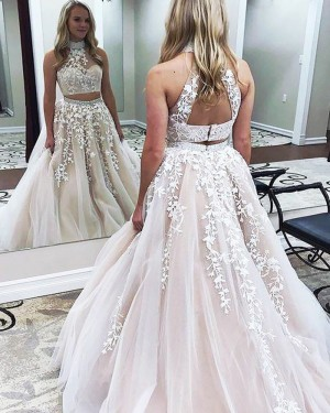 Pearl Pink Two Piece High Neck Appliqued Ball Gown Prom Dress PM1140